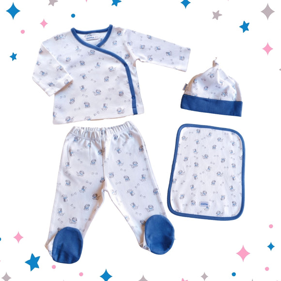 Doggies and Paws Outfit – 4 Piece Set - 0 to 3 months - 100% Pima Cotton - Pima Baby