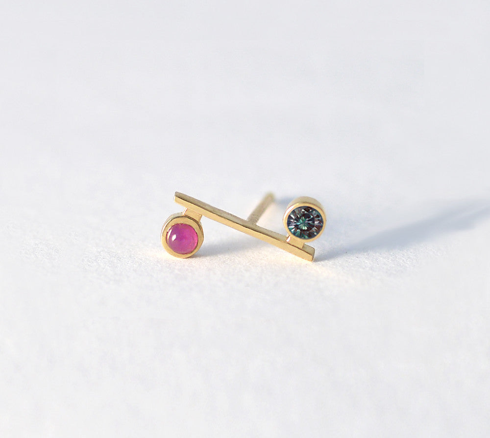 Ruby and Alexandrite Mini Bar Earring