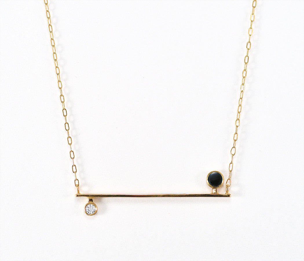 Onyx and Diamond Bar Necklace