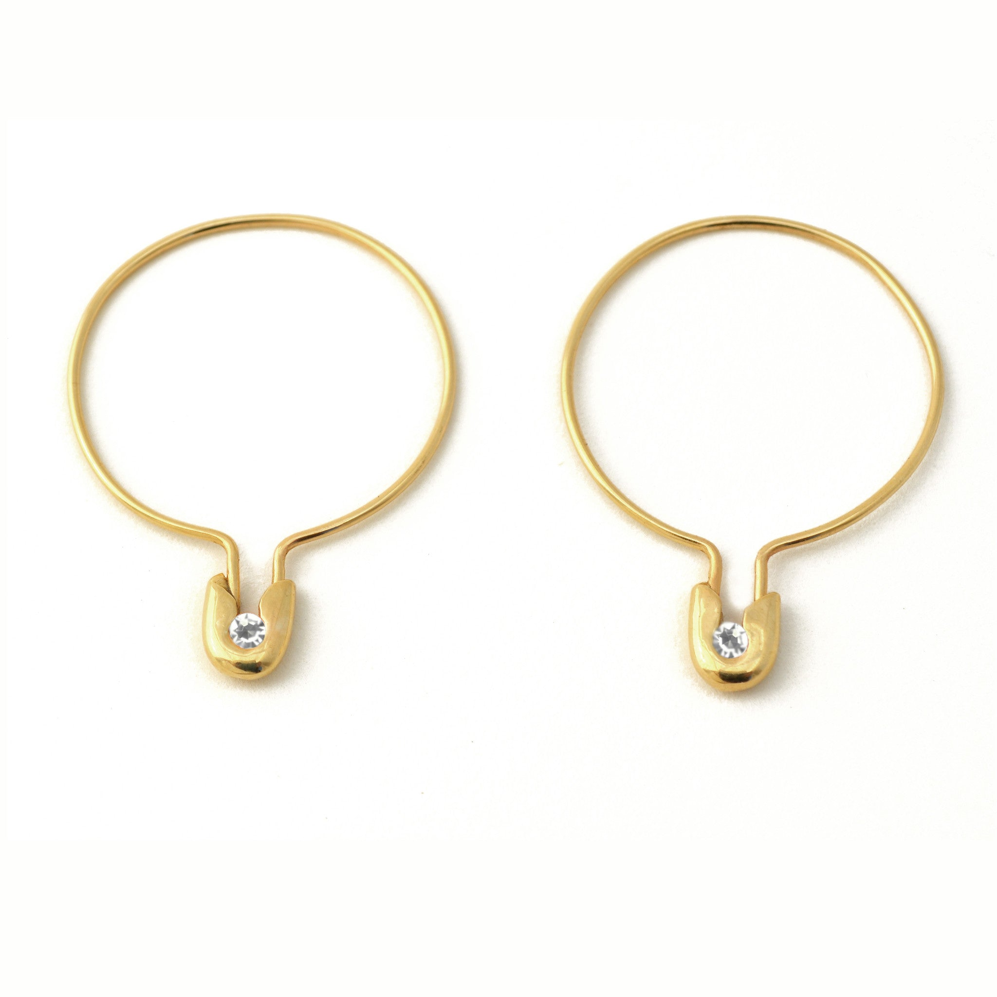14k Gold Safety Pin Hoops with Diamonds- Medium