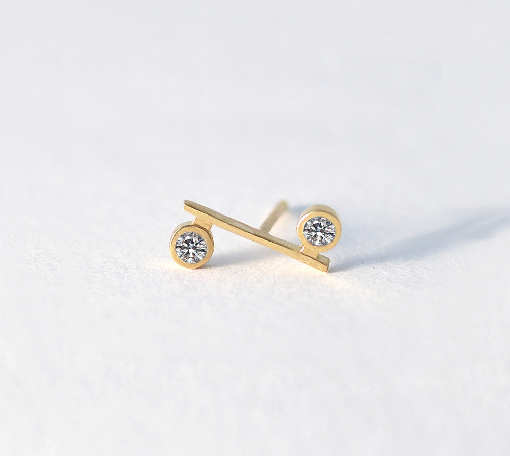 Mini Bar Earring with Diamonds