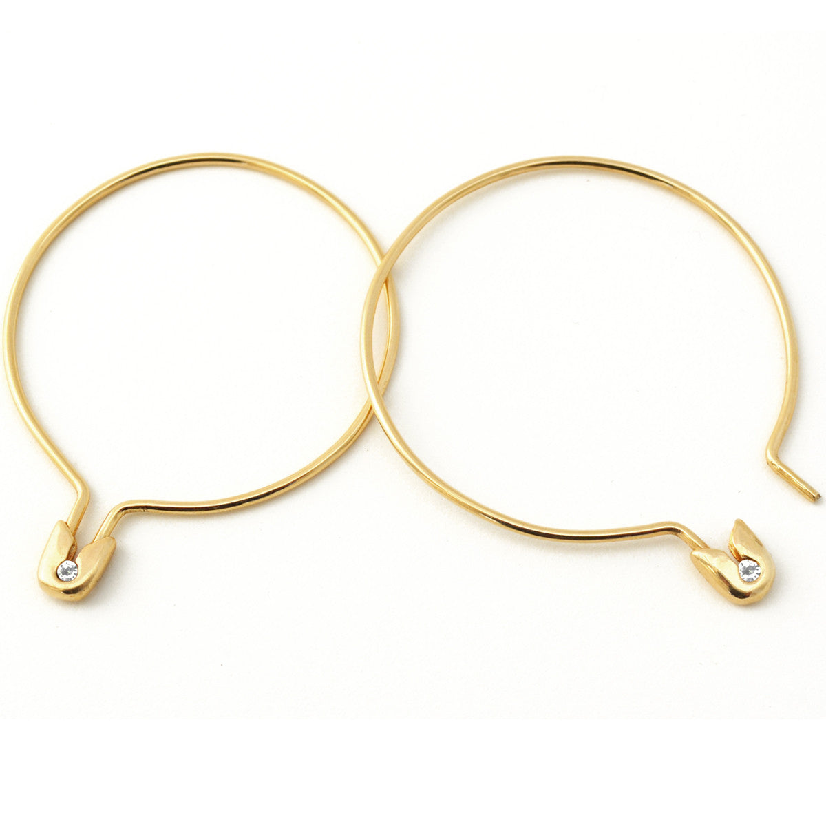 14k Gold Diamond Safety Pin Hoop Earring Large - PAIR