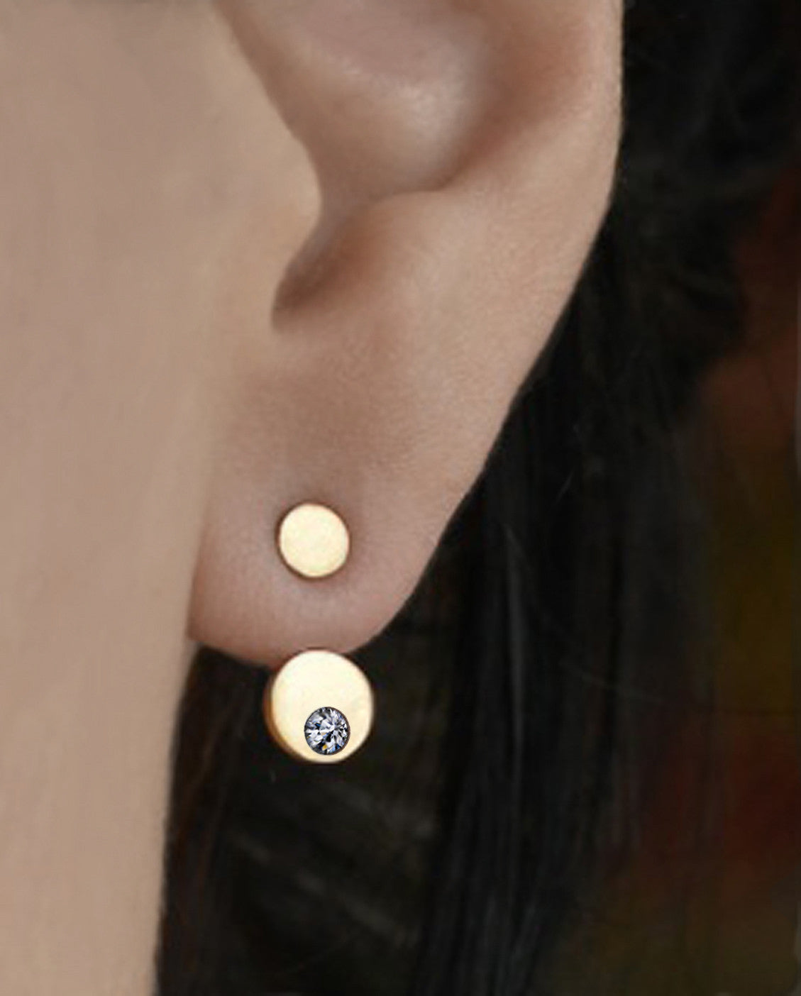 Floating Moon Earring with Diamond