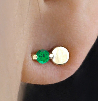 Green Agate Full Moon Earring