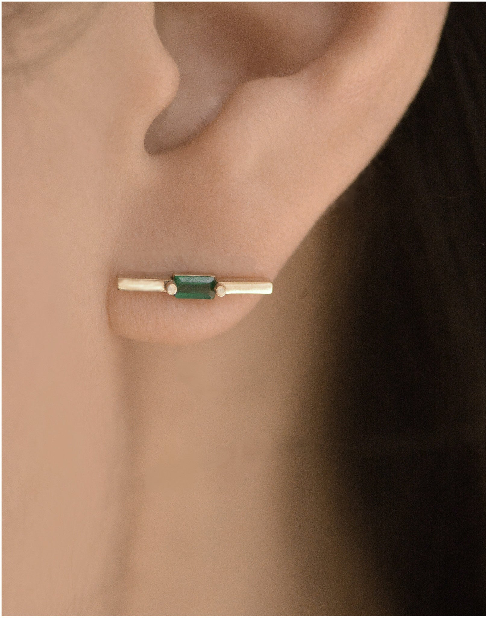 Green Agate Baguette Bar Earring