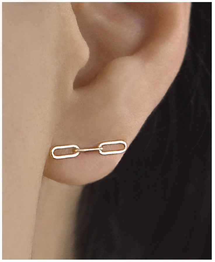 Horizontal Chain Stud Earring