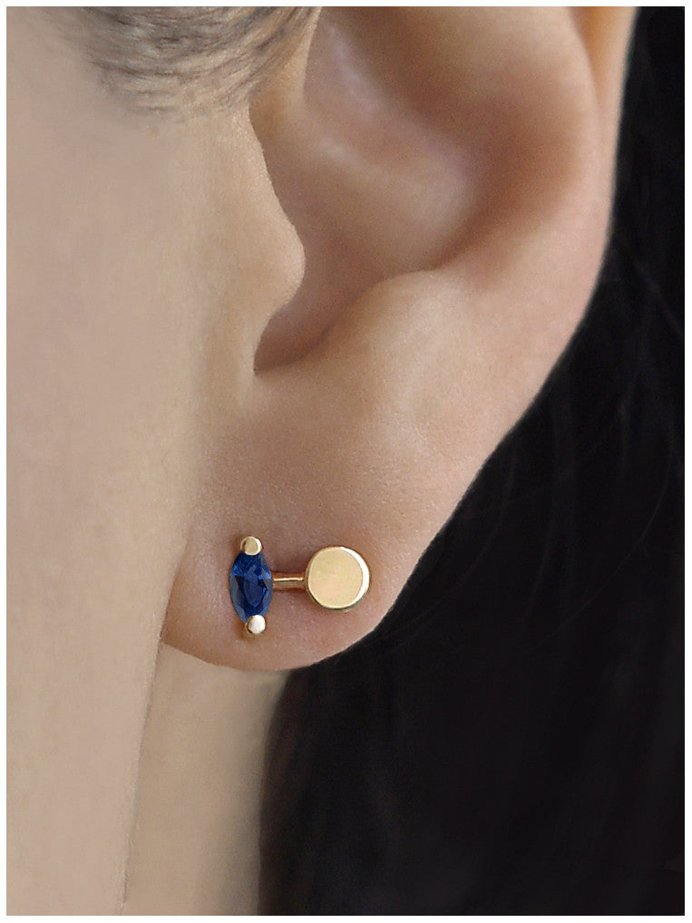 Iolite Marquise Full Moon Earring
