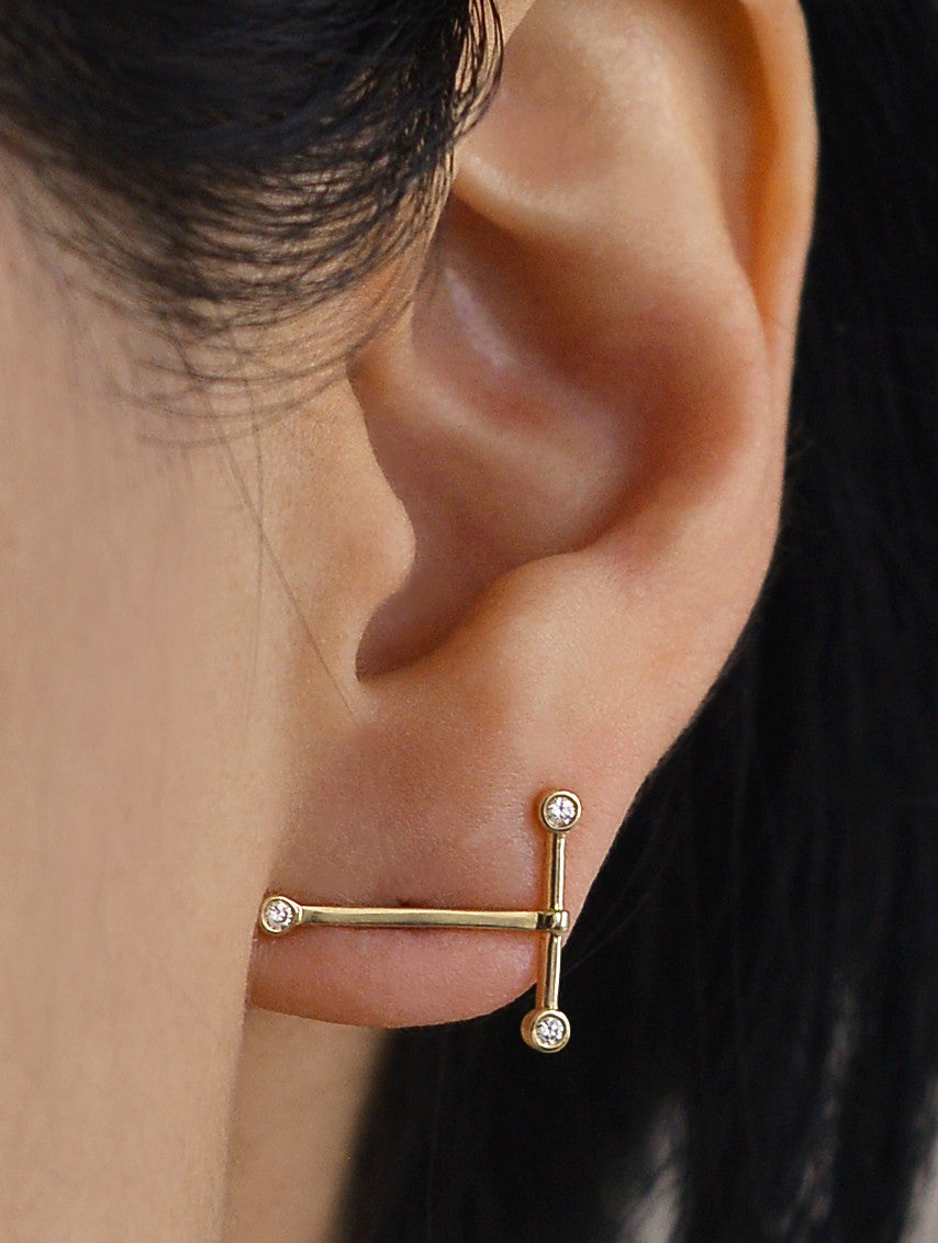 Diamond T Bar Earring