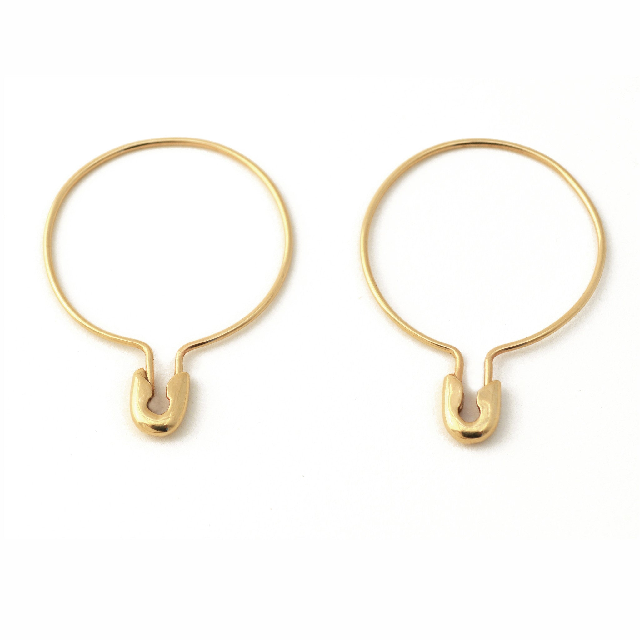 14K GOLD Medium Safety Pin Hoop Earrings Pair