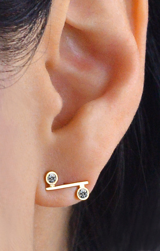 Onyx and Diamond Mini Bar Earring