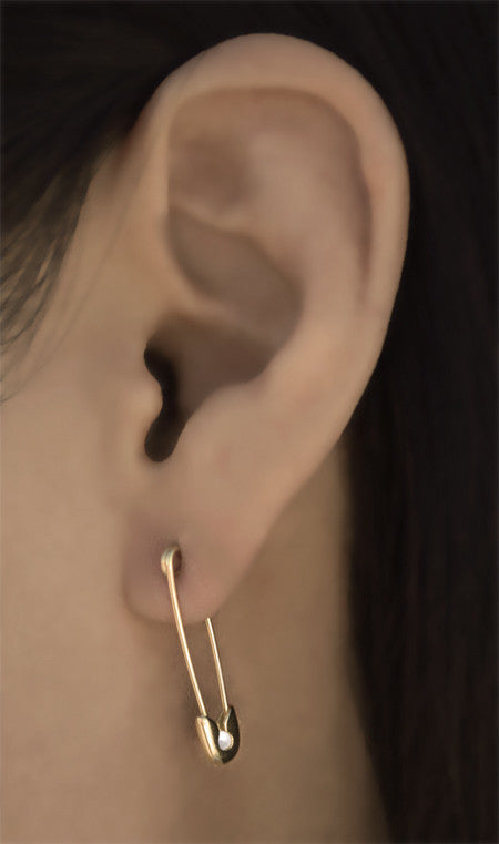 14k gold Diamond Safety Pin Earrings