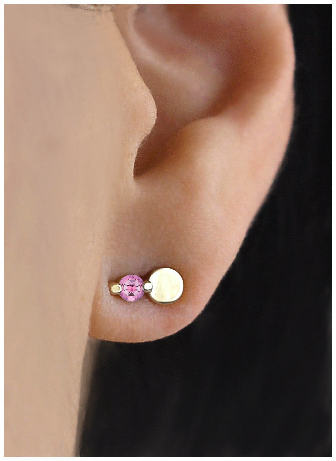 Pink Topaz Full Moon Earring