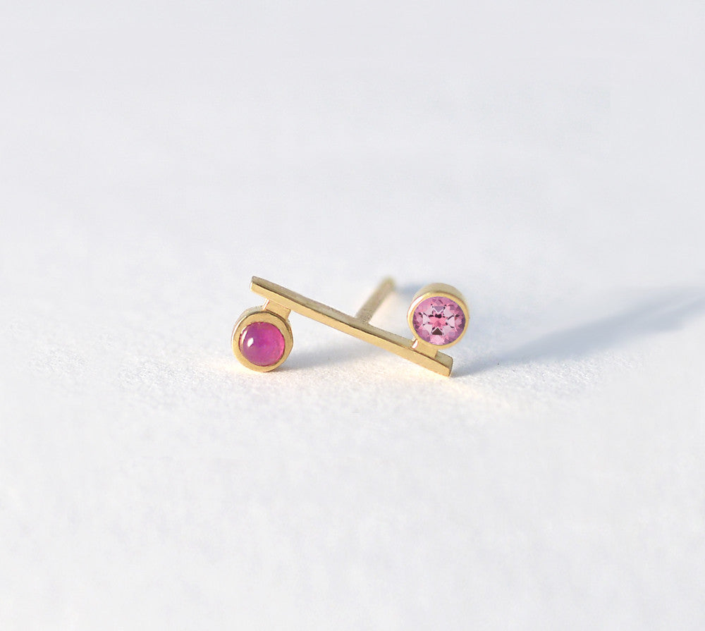 Pink Topaz with Ruby Mini Bar Earring
