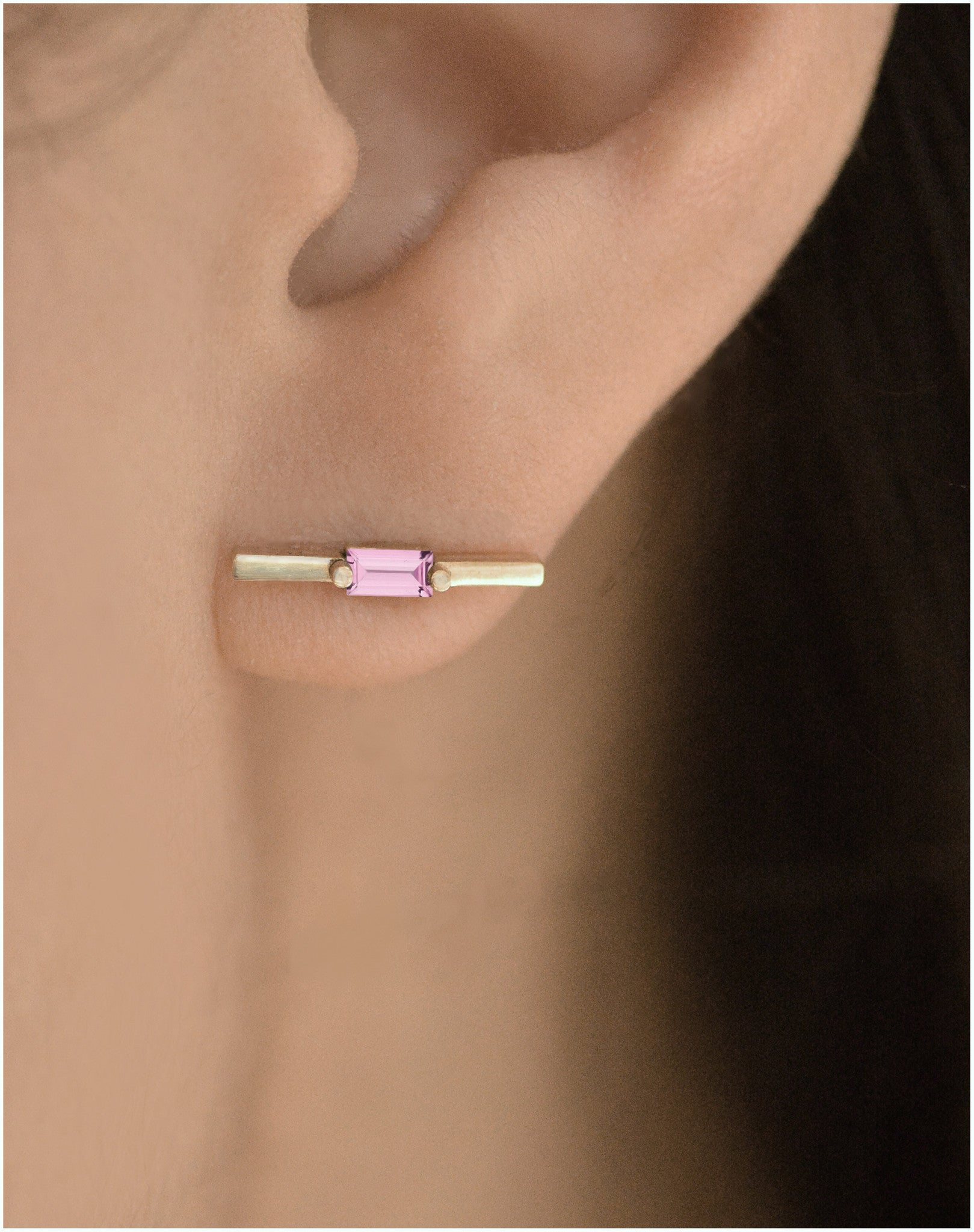 Garnet Baguette Bar Earring