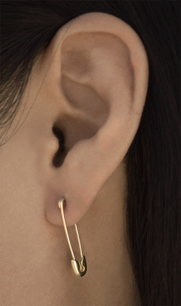 14K GOLD CLASSIC SAFETY PIN EARRINGS