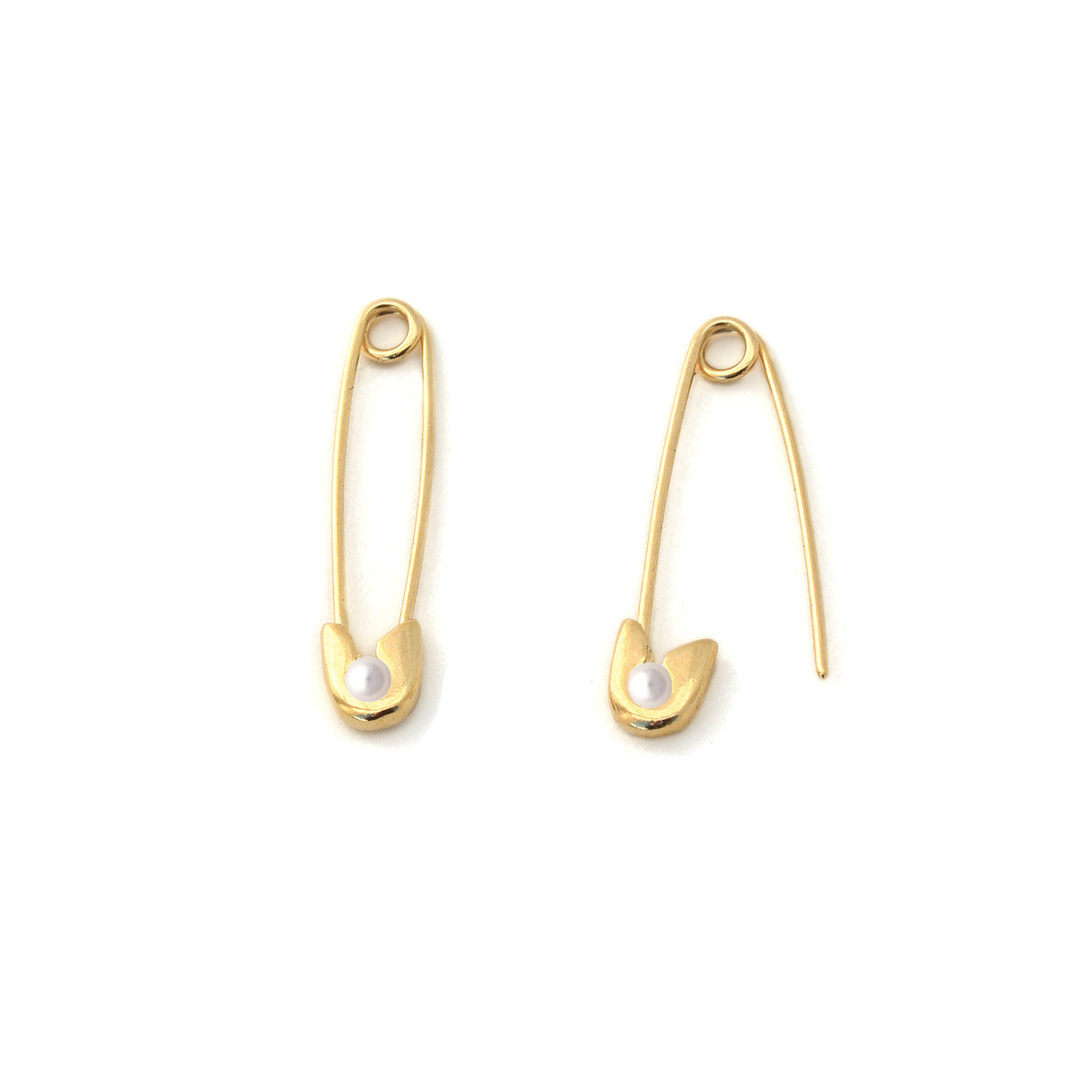 14k gold Pearl Safety Pin Earrings