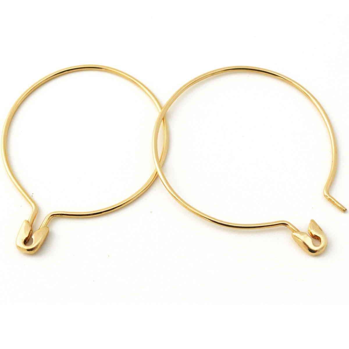 14K GOLD SAFETY PIN HOOP EARRINGS LARGE