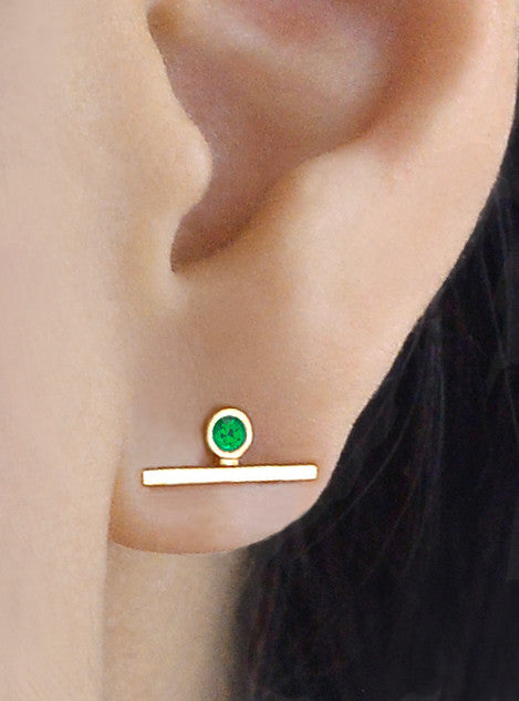 Single Green Agate Bar Earring