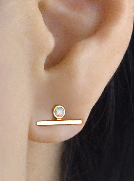 Single Opal Sapphire Bar Earring