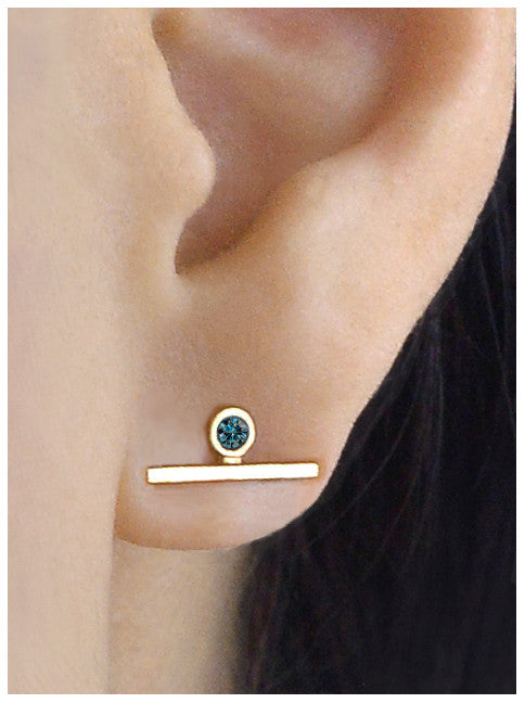 Single Blue Diamond Bar Earring