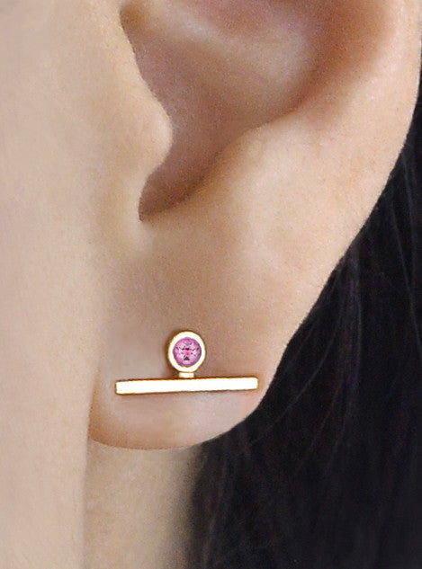 Single Pink Sapphire Bar Earring