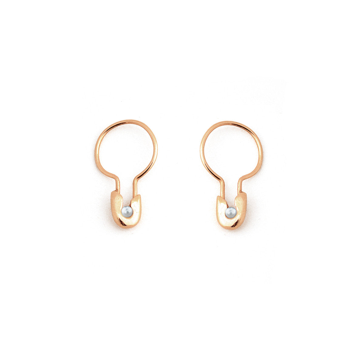 14k Gold Pearl Safety Pin Hoop Earring- Small
