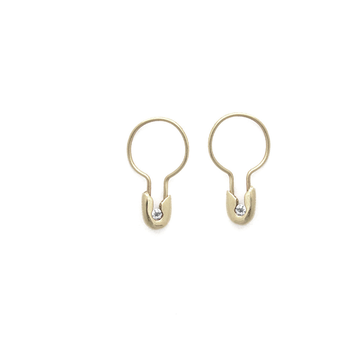 14k Gold Diamond Safety Pin Hoop Earring- Small