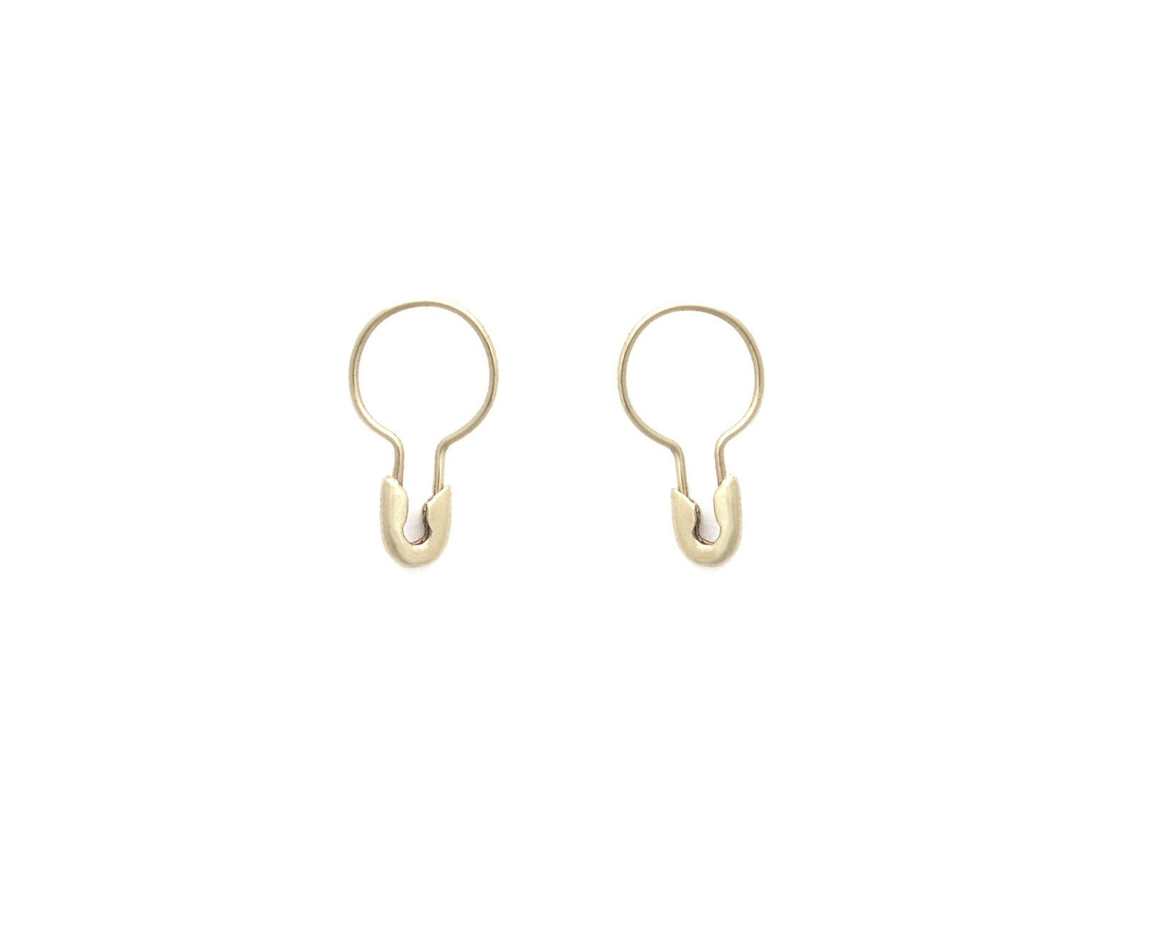 14k Gold Small Safety Pin Hoop Earring