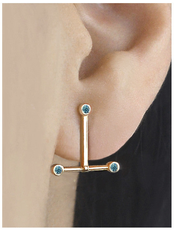 Blue Diamond T Bar Earring