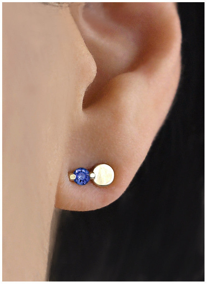 Blue Tanzanite Full Moon Earring