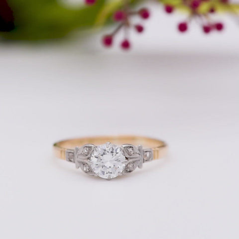 The Vintage Lively Seven Stone Floral Engagement Ring
