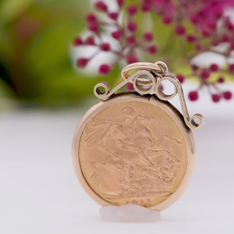 The George V 1911 22ct Gold Full Sovereign Coin Pendant
