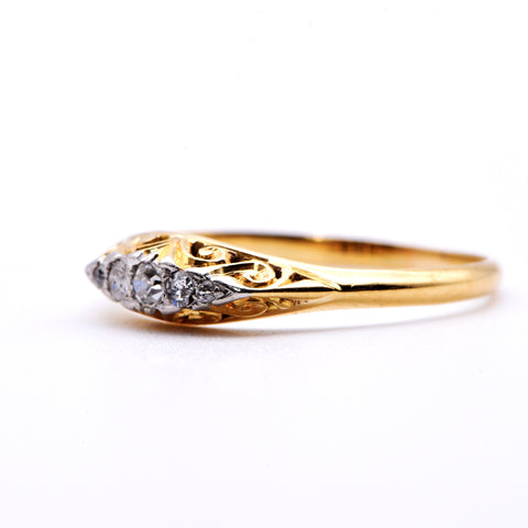 Edwardian Ornate Gallery Old Cut Diamond Engagement Ring, Antique, 0.08ct, P - Antique Jewellers Ltd