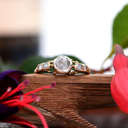 19th Century Rose Cut Diamond Engagement Ring, Antique Victorian, 0.8ct, P - Antique Jewellers Ltd
