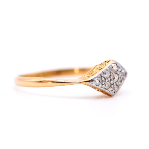 The Vintage Art Deco Rhombus Diamond  Ring - Antique Jewellers Ltd
