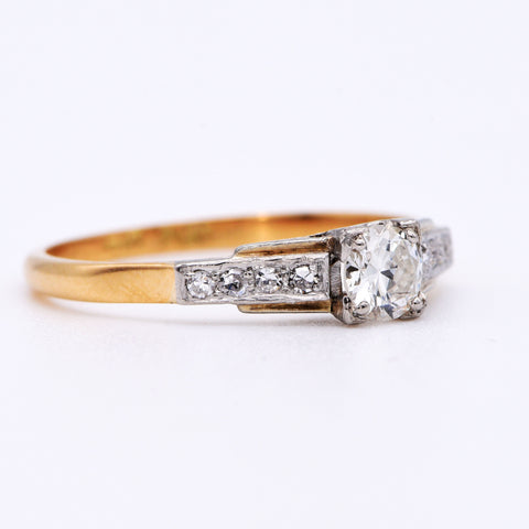 The Vintage Square Set Diamond Ring - Antique Jewellers