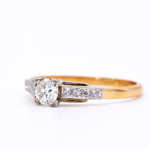 The Vintage Square Set Diamond Engagement Ring - Antique Jewellers Ltd
