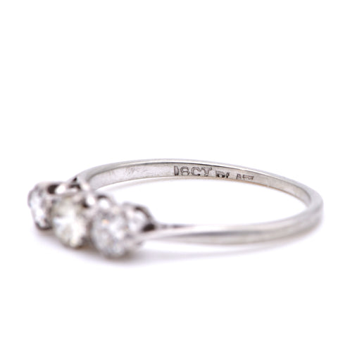 The Vintage Light Trio Diamond Engagement Ring - Antique Jewellers Ltd
