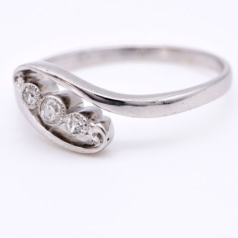 The Early 20th Century White Swirl Twirl Trilogy Engagement Ring - Antique Jewellers Ltd
