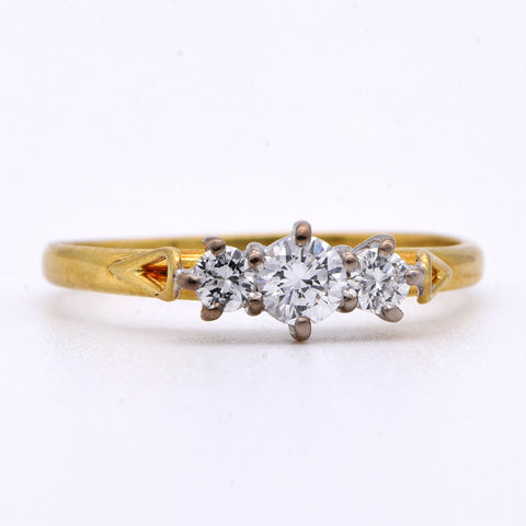 The Carved Loop Diamond Engagement Ring - Antique Jewellers Ltd