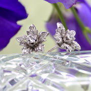 The 1 Carat Old European Cut Floral Cluster Diamond Earrings - Antique Jewellers
