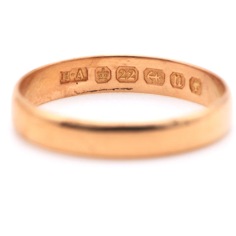 The Victorian 1887 Antique 22 Carat Gold Wedding Band - Antique Jewellers Ltd