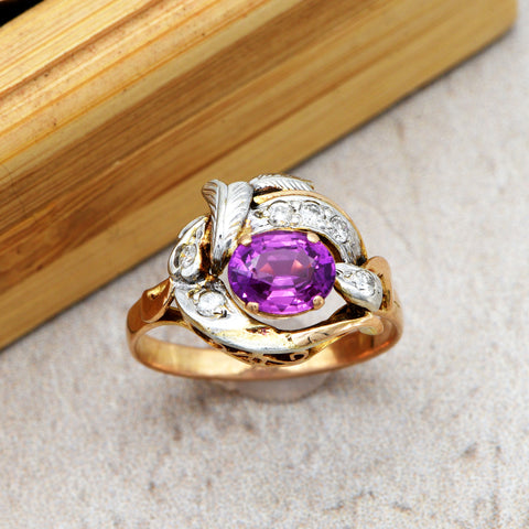 The Feather Flourish Purple Sapphire & Diamond Ring - Antique Jewellers Ltd