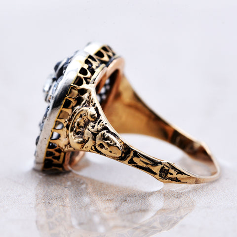 The Antique Early Victorian Heads & Hearts Thirty One Old Cut Diamonds Ring - Antique Jewellers