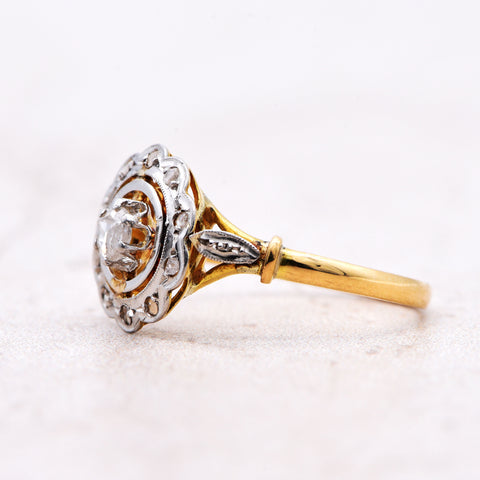 The Vintage Rose Disc Cluster Diamond Engagement Ring - Antique Jewellers Ltd