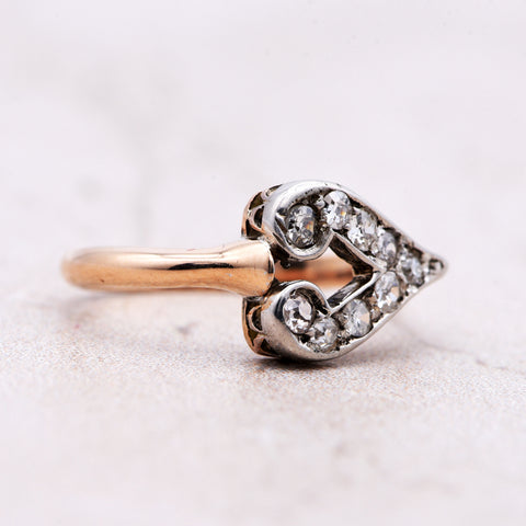 The Victorian Rose V Heart Diamond Cluster Ring - Antique Jewellers Ltd