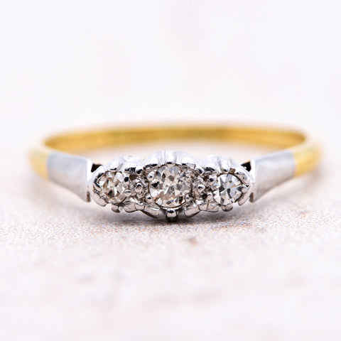 The Vintage Mirror Shoulder Three Diamond Ring - Antique Jewellers