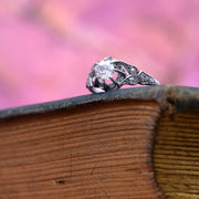 The Victorian White Tulip Cushion Cut Diamond Engagement Ring - Antique Jewellers Ltd