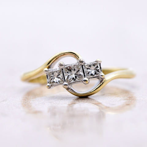 The Art Deco Style Diamond Trilogy Swirl Engagement Ring - Antique Jewellers Ltd