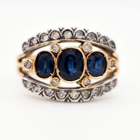 The Italian Vintage Art Deco Sapphire and Diamond Ring - Antique Jewellers